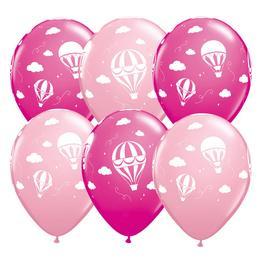 11 inch-es Hot Air Balloons - Léghajó Pink & Berry Lufi Babaszületésre (25 db/csomag)