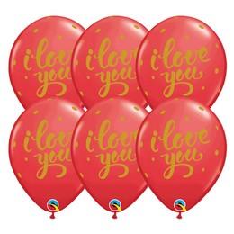 I Love You Feliratú Bold Script Piros Színű Gumi Lufi, 25 db, 28 cm