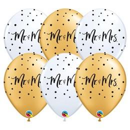 11 inch-es Mr. & Mrs. Feliratú Gold White Esküvői Lufi (6 db/csomag)