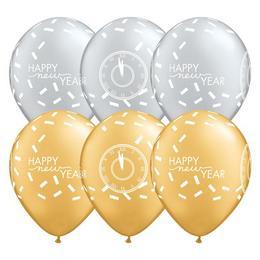 11 inch-es New Year Confetti Countdown Szilveszteri Lufi (25 db/csomag)