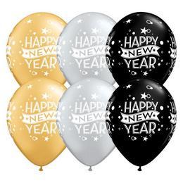 Ezüst, Arany, Fekete Happy New Year Feliratú Szilveszteri Lufi