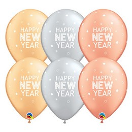 Happy New Year Feliratú Ezüst, Arany, Rósegold Gumi Lufi, 25 db, 28 cm