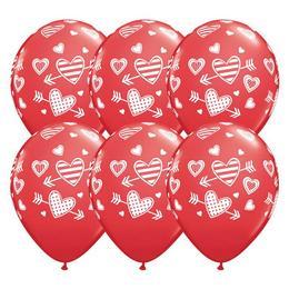 11 inch-es Patterned Hearts & Arrows Piros Szerelmes Lufi (25 db/csomag)