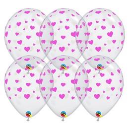 Pink Szív Mintás Áttetsző Lufi, 28 cm, 25 db