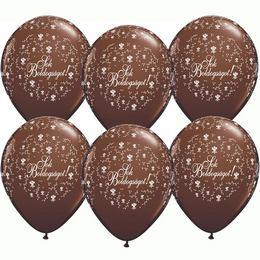 11 inch-es Sok Boldogságot Chocolate Brown Virágmintás Léggömb Esküvőre (25 db/csomag
