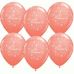11 inch-es Sok Boldogságot Coral Virágmintás Lufi Esküvőre (25 db/csomag)