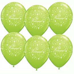 11 inch-es Sok Boldogságot Lime Green Virágmintás Léggömb Esküvőre (25 db/csomag)