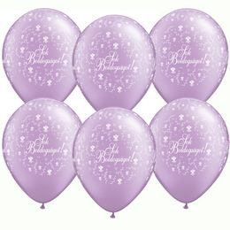 11 inch-es Sok Boldogságot Pearl Lavender Virágmintás Léggömb Esküvőre (25 db/csomag)