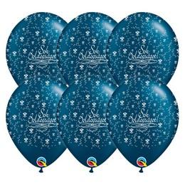 Sok Boldogságot Gyöngyház Kék Színű Gumi Lufi, 25 db, 28 cm