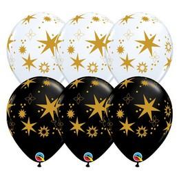 11 inch-es Arany Csillag Mintás - Star Patterns White & Onyx Black Lufi (25 db/csomag