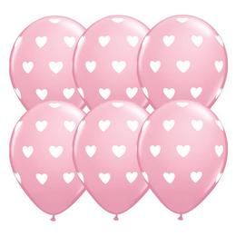 11 inch-es Big Hearts Pink Lufi (6 db/csomag)