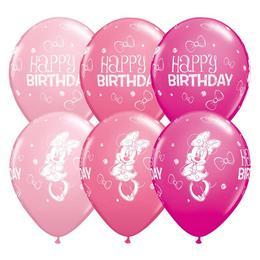 11 inch-es Minnie Mouse Birthday Asst. Szülinapi Lufi (25 db/csomag)