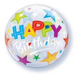 12 inch-es Birthday Stars Szülinapi Air - Levegős Bubbles Lufi