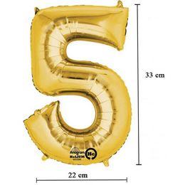 16 inch-es 5 - Arany Számos Minishape Fólia Lufi