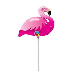 Pink Flamingó Fólia Lufi Pálcán, 36 cm