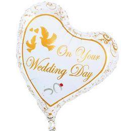 On Your Wedding Day - Esküvői Szív Héliumos Fólia Lufi, 36 cm