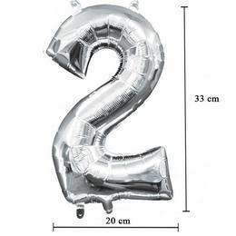 Levegős Ezüst 2-es Számos Fólia Lufi, 35 cm