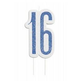 16-os Csillámos Kék Számgyertya