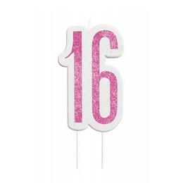 16-os Csillámos Pink Számgyertya