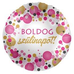 Boldog Szülinapot! Rózsaszín Pasztell Héliumos Fólia Lufi, 43 cm