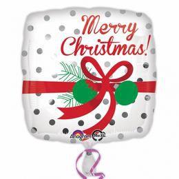 17 inch-es Merry Christmas Silver Karácsonyi Fólia Lufi
