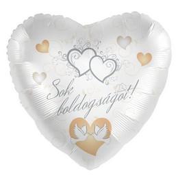 Sok Boldogságot! Feliratú Esküvői Ezüst Héliumos Fólia Lufi