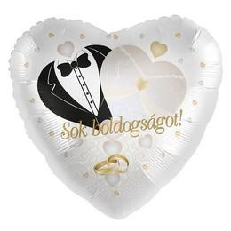 Sok Boldogságot! Feliratú Esküvői Arany Héliumos Fólia Lufi