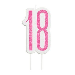 18-as Csillámos Pink Szülinapi Parti Számgyertya