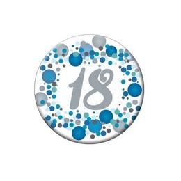 18-as Kék Pasztell Konfettis Kitűző