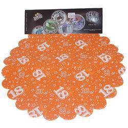 18-as Narancssárga Szülinapi Kerek Dekorációs Textil - 48 cm-es, 24 db-os