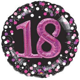 32 inch-es 3D - Sparkling Birthday 18 Pink Super Shape Fólia Lufi