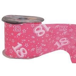 18-as Pink Szülinapi Dekorációs Szalag, 12,5 cm, 50 méteres