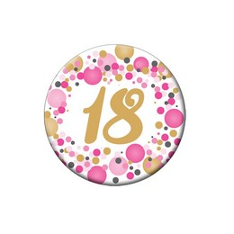 18-as Rózsaszín Pasztell Konfettis Kitűző