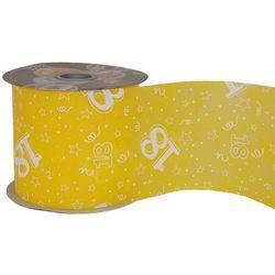 18-as Sárga Szülinapi Dekorációs Szalag, 12,5 cm, 50 méteres