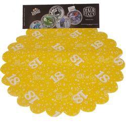 18-as Sárga Szülinapi Kerek Dekorációs Textil - 48 cm-es, 24 db-os
