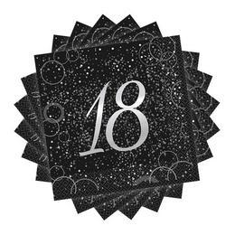 18-as Számos Szülinapi Ezüst Konfetti Mintás Fekete Szalvéta 16db