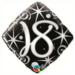 18 inch-es 18-as Elegant Sparkles and Swirls Szülinapi Héliumos Fólia Lufi
