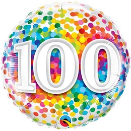 18 inch-es 100 Rainbow Confetti Szülinapi Héliumos Fólia Lufi