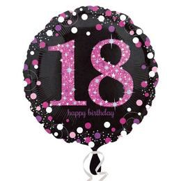 18 inch-es 18-as Happy Birthday Pink Celebration Prismatic Szülinapi Fólia Lufi