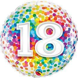 18 inch-es 18 Rainbow Confetti Szülinapi Héliumos Fólia Lufi