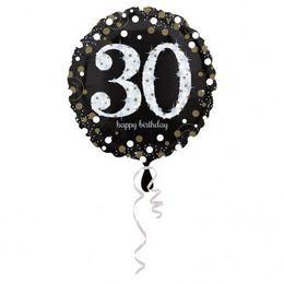 18 inch-es 30-as Happy Birthday Sparkling Születésnapi Héliumos Fólia Lufi