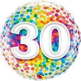 18 inch-es 30 Rainbow Confetti Szülinapi Héliumos Fólia Lufi