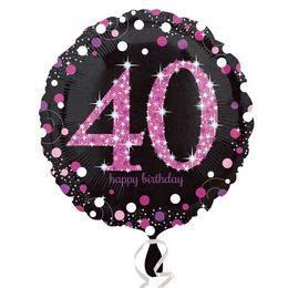 18 inch-es 40-es Happy Birthday Pink Celebration Prismatic Szülinapi Fólia Lufi
