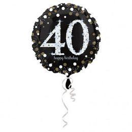 40-es Happy Birthday Sparkling Születésnapi Héliumos Fólia Lufi, 46 cm