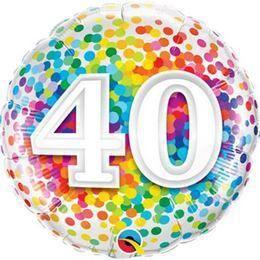 18 inch-es 40 Rainbow Confetti Szülinapi Héliumos Fólia Lufi