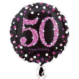 18 inch-es 50-es Happy Birthday Pink Celebration Prismatic Szülinapi Fólia Lufi