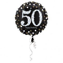 50-es Happy Birthday Sparkling Születésnapi Héliumos Fólia Lufi, 46 cm