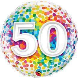 18 inch-es 50 Rainbow Confetti Szülinapi Héliumos Fólia Lufi