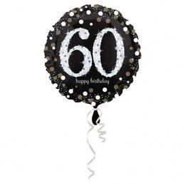 60-as Happy Birthday Sparkling Születésnapi Héliumos Fólia Lufi, 46 cm
