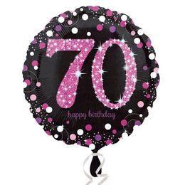 18 inch-es 70-es Happy Birthday Pink Celebration Prismatic Szülinapi Fólia Lufi